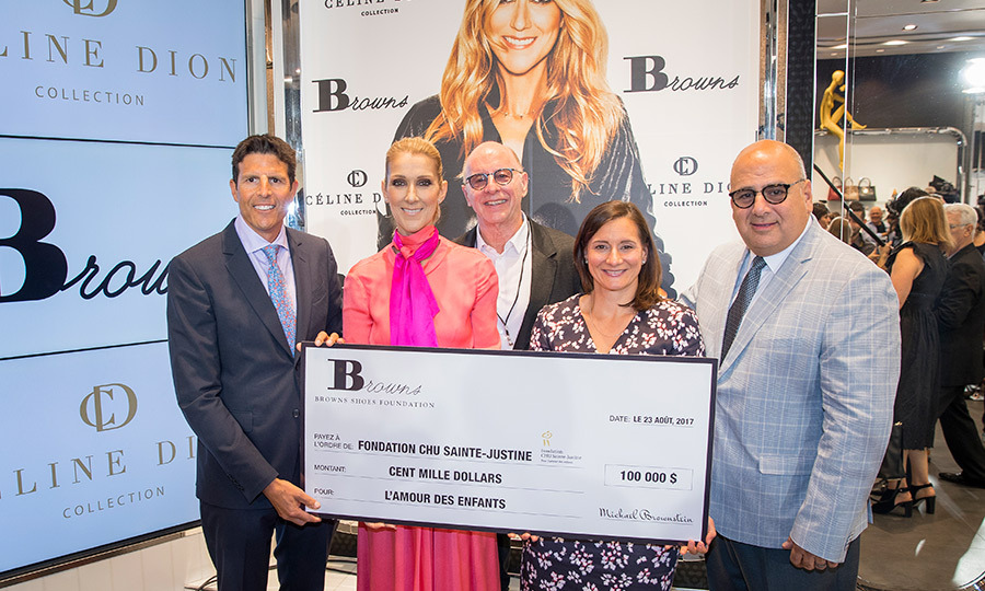 Celine donated sales from Wednesday's event to charity, as did the team at Browns, who presented the singer with a $100,000 cheque for Montreal's Fondation CHU Sainte-Justine. 