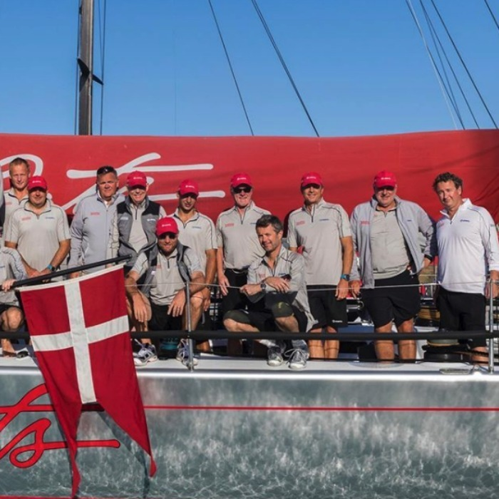 Sailing! Crown Prince Frederik posed with his team on board the Nanoq during the Hamilton Race Week in Australia, on August 22, where he and his team are currently ranked third.