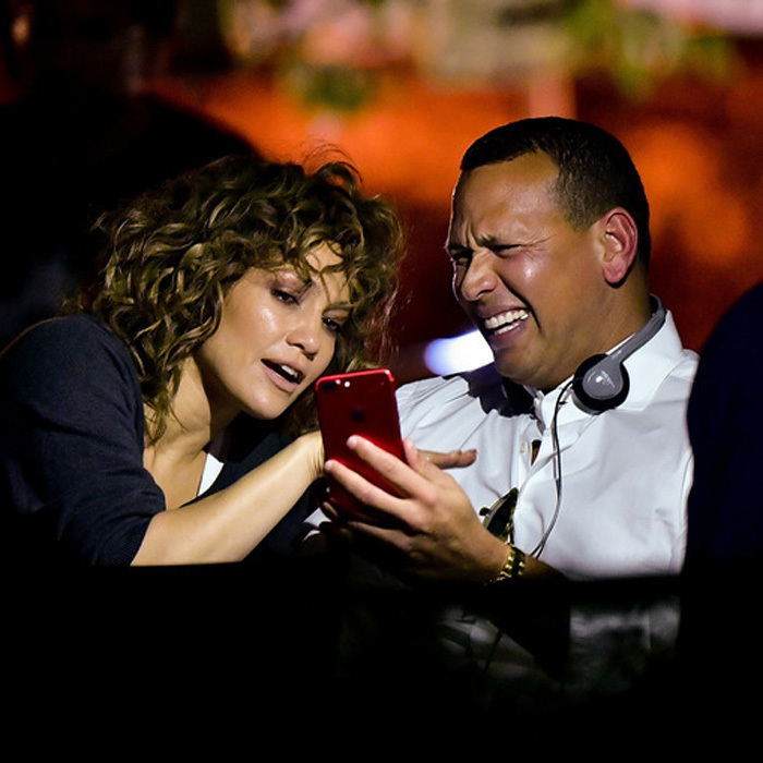 Jennifer Lopez had a special visitor on set of Shades of Blue in boyfriend Alex Rodriguez. The two shared a laugh between takes on August 23.