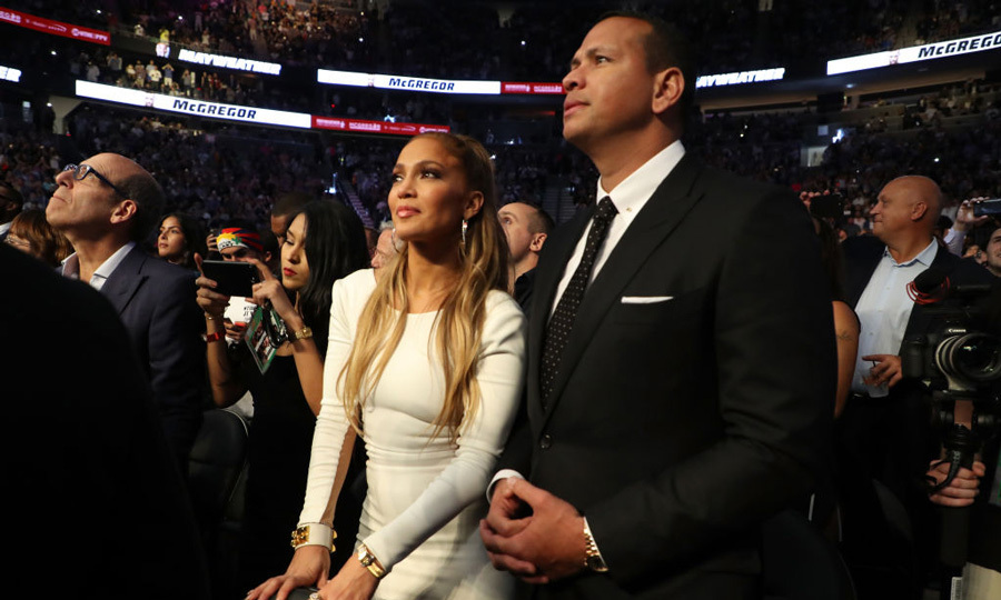 Fight night or date night? The match is that way! Jennifer Lopez and Alex Rodriguez couldn't keep their eyes off each other at the Floyd Mayweather vs Conor McGregor fight in Las Vegas. The pair made for a stylish couple in all black and white. 