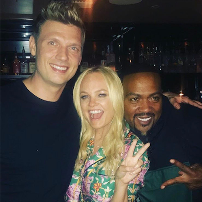 Oh baby! Emma Bunton, Nick Carter and Timbaland kept the party going at Doheny Room in L.A. after the Boy Band wrap.