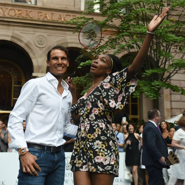 Game, set match! Venus Williams and Rafael Nadal (who is the number one tennis player in the world) posed for a photo after facing off during the Lotte New York Palace Invitational Badminton tournament on August 24.