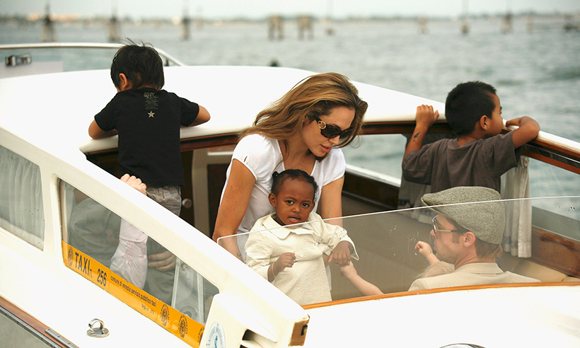 Angelina Jolie and Brad Pitt made their appearance in Venice in 2007 a family affair by bringing their children along for the ride. 