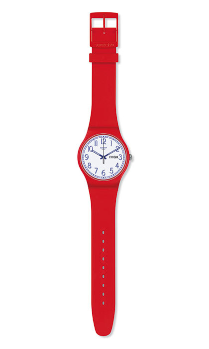 <p><strong>Red Me Up Watch</strong>, $90, <em>shop.swatch.com</em></p>