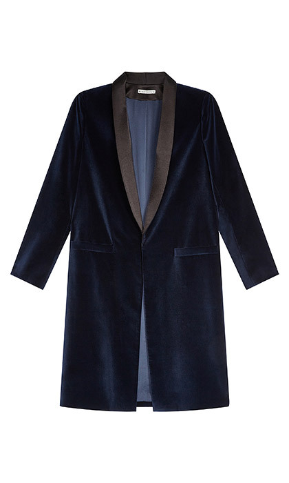 <p><strong>Kylie Long Shawl Collar Jacket</strong>, $753, <em>aliceandolivia.com</em></p>