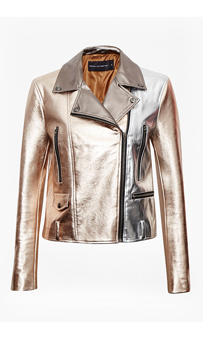 <p><strong>Metallic Biker Jacket</strong>, $198, <em>frenchconnection.com </em></p>