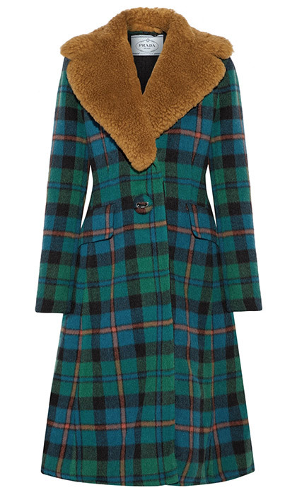 <p><strong>Prada Shearling-Trimmed Tartan Wool And Alpaca-Blend Coat</strong>, $5,885, <em>net-a-porter.com</em></p><hr>