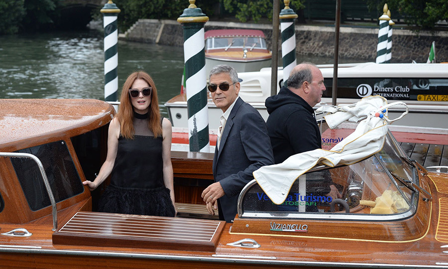 George Clooney and Julianne Moore arrive at Lido Beach for the 74th annual Venice International Film Festival, in Venice, Italy, 01 September 2017.