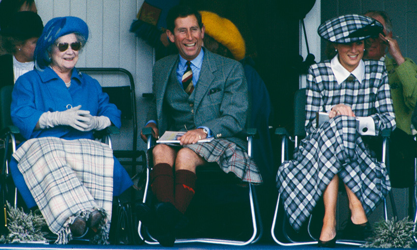 Princess Diana looked pretty in plaid at the Gathering in 1989. She was joined by her husband Prince Charles and his grandmother. 