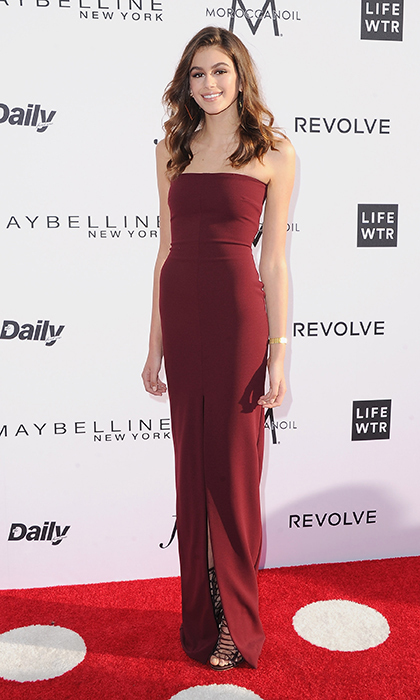 The model wowed in a long, strapless burgundy gown at The Daily Front Row's 3rd Annual Fashion Los Angeles Awards in April 2017. The awards were held at the Sunset Tower Hotel.
