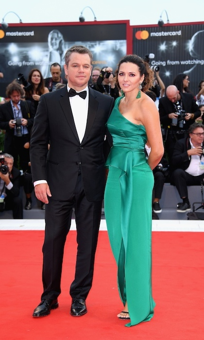 <h4>Matt Damon and wife Luciana at the premiere of <em>Suburbicon</em></h4>