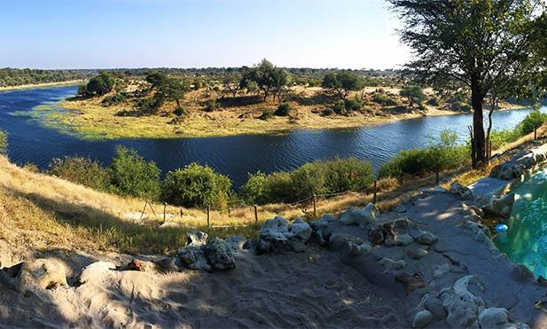 The Meno a Kwena resort in Botswana is located next to the Boteti River, where zebra and elephants come and drink.