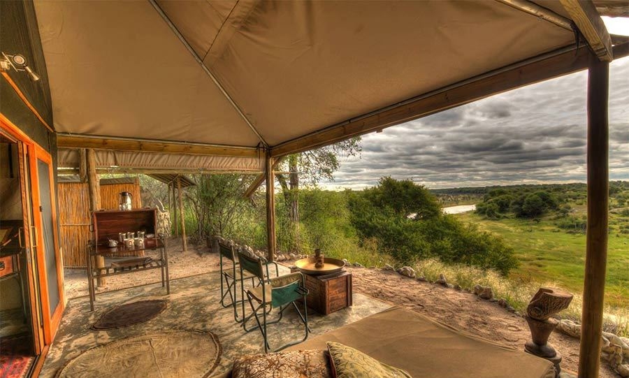 There are nine luxury tents at the Meno a Kwena resort, all of which have their own private verandas.