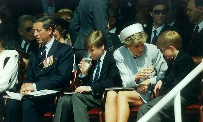 Princes Charles, William and Harry, with Princess Diana