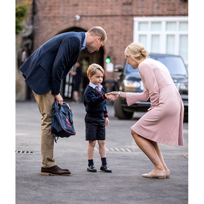 "The Prince was greeted on his first day by Head of Lower School Helen Haslem, who made a point of shaking the little boy's hand – a gesture that is encouraged at Thomas's. Every day starts with a handshake, and good eye contact is also important, with children expected to be ""unfailingly courteous and polite"". Emphasis is also placed on the need to 'Be Kind' – the school's most important rule, according to its website.