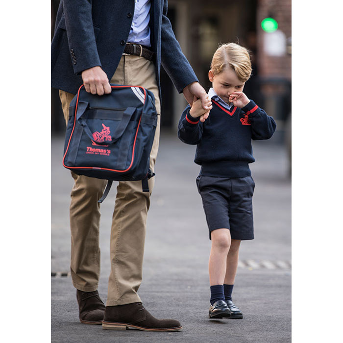 "<p>The young Prince <strong><a href=""/royalty/02017090738514/prince-george-first-day-of-school-photos/"">looked a little nervous</a></strong> as he made his way to the school entrance, and clutched onto his dad's hand for comfort. </p>