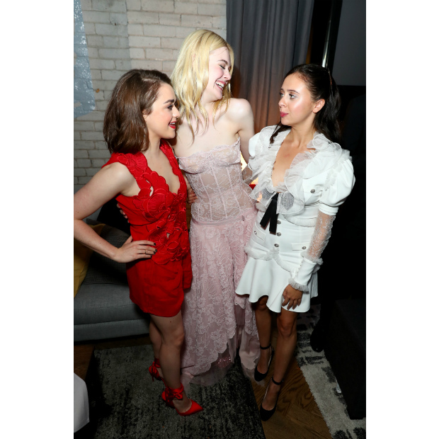 Maisie Williams, Elle Fanning and Bel Powley shared a laugh at the <em>Mary Shelley</em> after party at RBC House. 