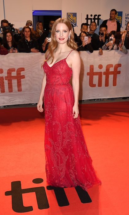 <h4>Jessica Chastain at the premiere of <em>Woman Walks Ahead</em></h4>