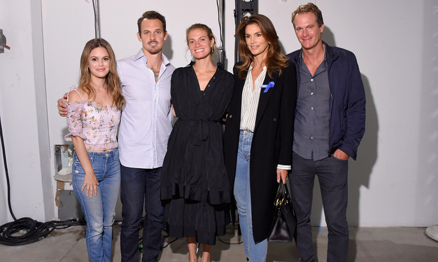 Rachel Bilson, Cindy Crawford and Rande Gerber caught up with designers Kristopher Brock and Laura Vassar backstage at the Brock Collection runway show.