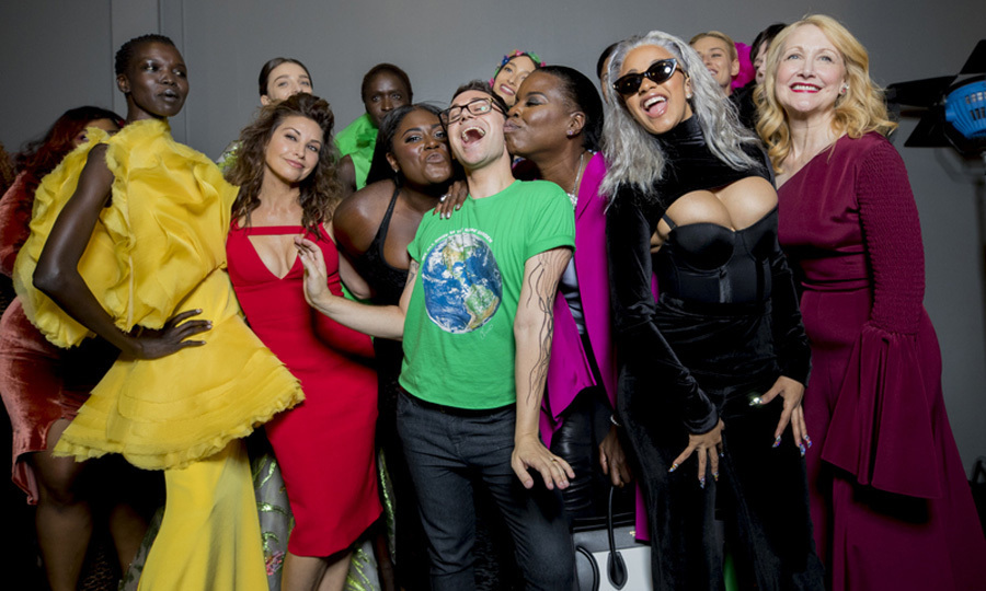 Christian Siriano had lots to smile about after his runway show with Gina Gershon, Danielle Brooks, Leslie Jones, Cardi B and Patricia Clarkson.