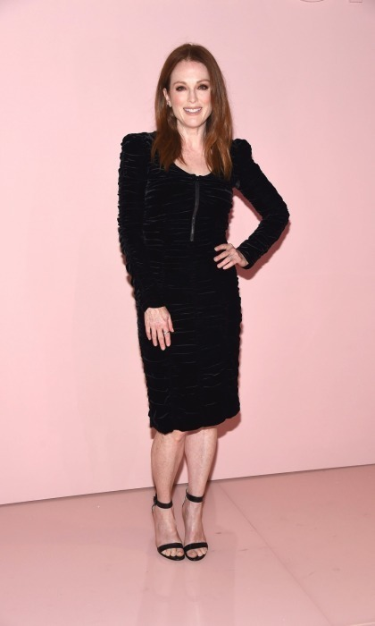 Julianne Moore made a quick return from the Venice Film Festival to attend the Tom Ford fashion show in NYC. The Oscar-winner looked beautiful in a black velvet number.