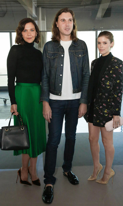 Maggie Gyllenhaal and Kate Mara supported Steve Cateron, VP of Women's Design at Club Monaco at the label's runway show.