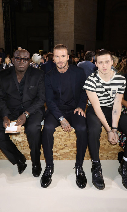 David and Brooklyn Beckham were front and center to support the leading lady in their house with Edward Enningful.