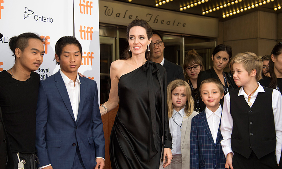 Maddox Chivan Jolie-Pitt, Pax Thien Jolie-Pitt, Angelina Jolie, Vivienne Marcheline Jolie-Pitt, Knox Leon Jolie-Pitt and Shiloh Nouvel Jolie-Pitt attend the premiere of First they Killed my Father at the Toronto International Film Festival in Toronto, Ontario on September 11, 2017