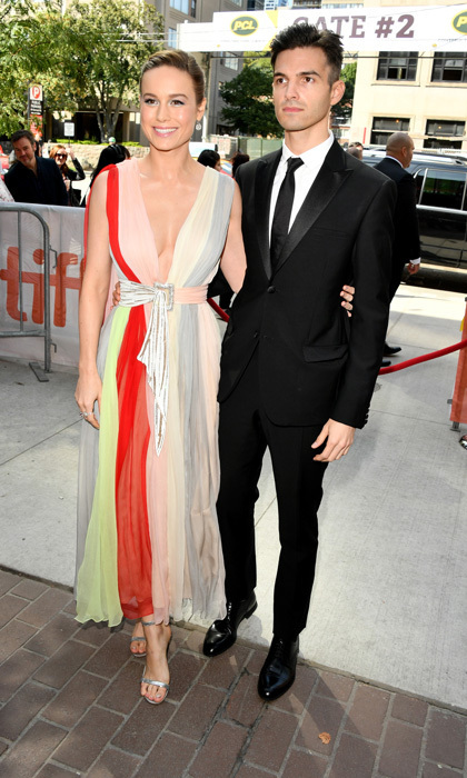 Brie Larson, in Schiaparelli Couture, showed off her directorial debut for her film Unicorn Store with her fianceé Alex Greenwald by her side.