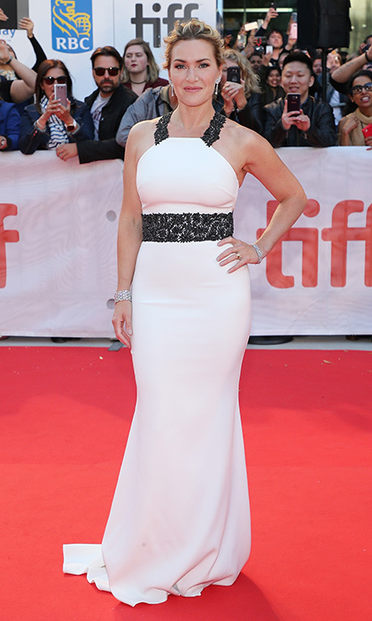 Kate Winslet was all glamour in a white gown with lace halter at the premiere of The Mountain Between Us on September 10.