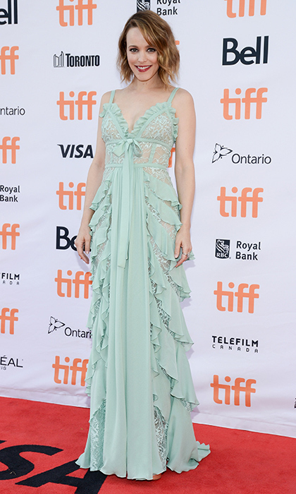Rachel McAdams chose this ethereal pastel look by Elie Saab for the debut of Disobedience.