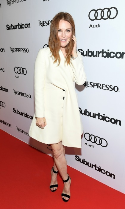George's leading lady in Suburbicon, Julianne Moore looked chic in a white coat-dress at their post-premiere party hosted by Nespresso and Audi at Patria.