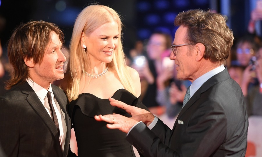 Keith Urban and Nicole Kidman were spotted chatting with Nicole's co-star Bryan Cranston at their much buzzed-about film The Upside at Roy Thomson Hall on September 8.
