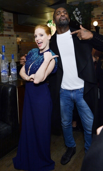 Molly's Game buddies Jessica Chastain and Idris Elba kept things fun at their film's premiere party, which was hosted by Grey Goose vodka at The Citizen on September 8. 