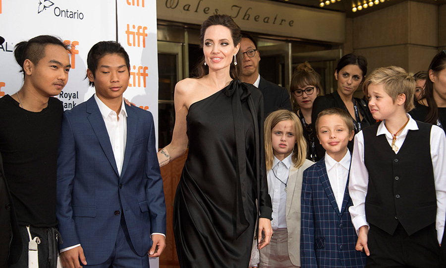 Maddox Chivan Jolie-Pitt, Pax Thien Jolie-Pitt, Angelina Jolie, Vivienne Marcheline Jolie-Pitt, Knox Leon Jolie-Pitt and Shiloh Nouvel Jolie-Pitt attend the premiere of First they Killed my Father at the Toronto International Film Festival in Toronto, Ontario on September 11, 2017.
