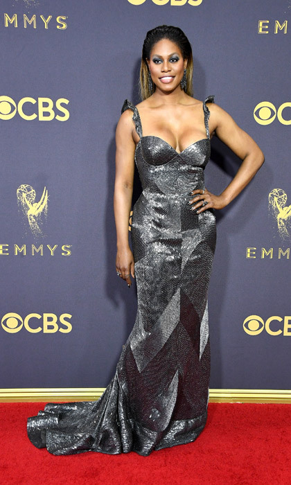 <h4>Laverne Cox in Naeem Khan</h4>