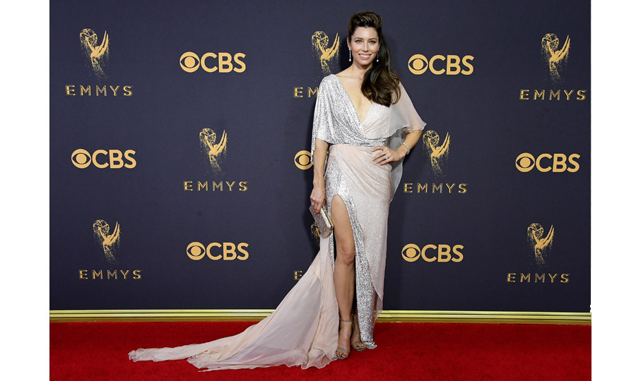 <h4>Jessica Biel in Ralph and Russo</h4>