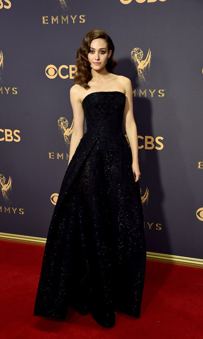 <h4>Emmy Rossum in Zac Posen</h4>