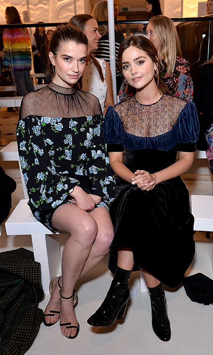 <p>Victoria actresses Margaret Clunie, left, and Jenna Coleman attended the Emilia Wickstead presentation.</p>