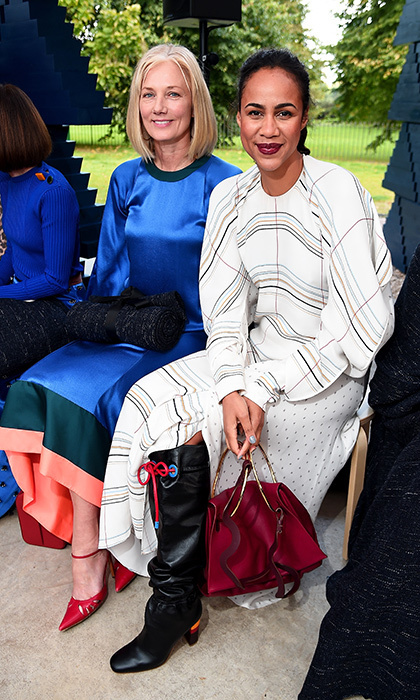 <p>Joely Richardson, left, and Zawe Ashton at the Roksanda show.</p>