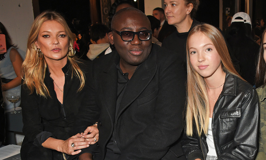 <p>British Vogue editor-in-chief Edward Enninful was flanked by two beauties – Kate Moss and her 14-year-old daughter Lila Grace Moss Hack – at Topshop's show on September 17. </p>