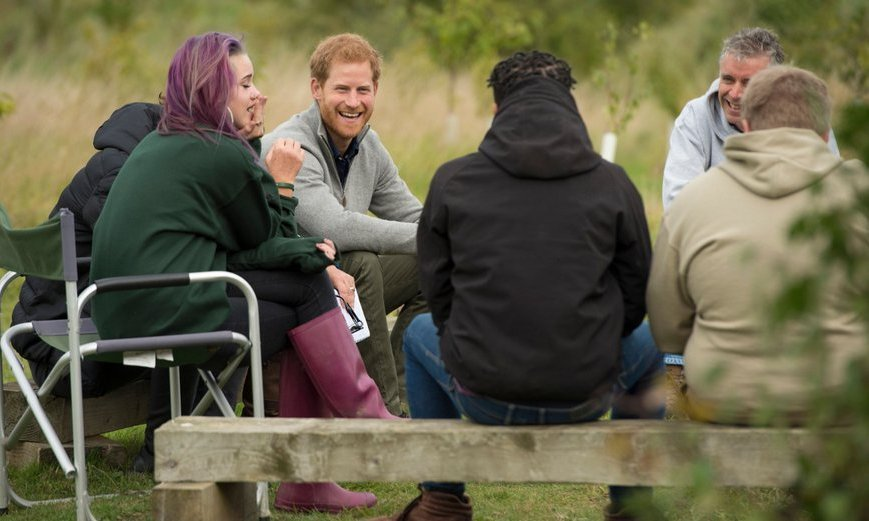 <p>Prince Harry chatted with recent graduates from the Wilderness Foundation's TurnAround programme during his visit to Chatham Green Project, a conservation, education and sustainability initiative in Chatham Green, north-east of London, on September 14.</p>