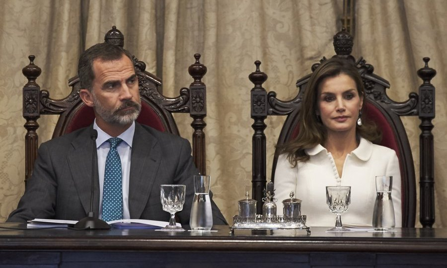 <p>King Felipe VI and Queen Letizia of Spain looked regal seated in antique chairs at the opening of the college year at Salamanca University on September 14. </p>