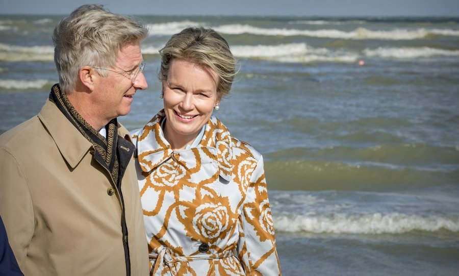 <p>It may have looked like a romantic break based on this photo, but King Philippe and Queen Mathilde of Belgium were actually attending a shrimp fishing demonstration of the Orde van de Paardenvissers (Order of the Horse Fishers) on September 12 in Oostduinkerke, Belgium. </p>