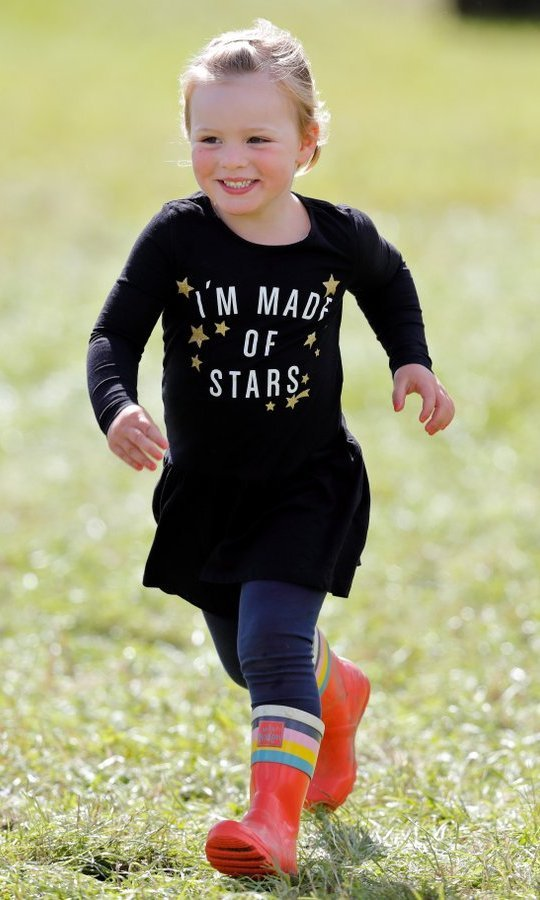 <p>Little star Mia Tindall kept things bright with her fun rain boots at the Whatley Manor Horse Trials at Gatcombe Park on September 9 in Stroud, England. </p>