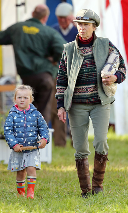 <p>Princess Anne kept an eye on her energetic granddaughter Mia Tindall during the Whatley Manor Horse Trials at Gatcombe Park on September 8.</p>