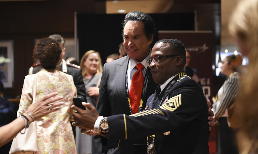 Singer Wayne Newton travelled to Toronto with First Lady Melania Trump to support the US team. 