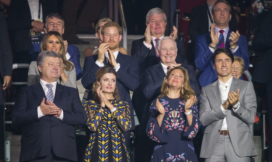 A host of dignitaries joined Prince Harry at the opening ceremonies. Front row from left: Ukrainian President Petro Poroshenko and his wife Maryna; Sophie Gregoire-Trudeau and her husband Prime Minister Justin Trudeau. Middle row from left: US first lady Melania Trump; Prince Harry; Governor General David Johnston, and his wife Sharon Johnston. Back rown from left: Dr. Ralf Speth, CEO of Land Rover; Ontario Premier Kathleen Wynne; Sir Keith Mills, Chairman of Invictus Games Foundation; and Michael Burns, CEO of IG2017.