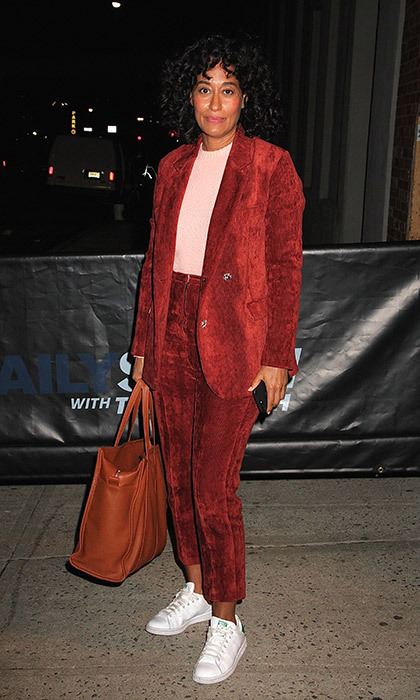 <p>Corduroy has gotten a makeover, thanks to stars like Tracee Ellis Ross, who gave the old-school staple a cool factor by accessorizing a relaxed pantsuit with fresh white sneakers. While colours like chocolate-brown and tan are traditionally associated with corduroy, you can also opt for an unexpected hue like hunter green or brick red. The key to wearing corduroy in a modern way is in the styling, like throwing on a varsity jacket over a white tee, and looking for a twist like pockets with leather details.</p><hr>