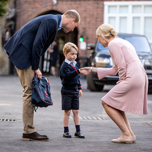 <p>Prince William accompanies Prince George on his first day of school at Thomas's Battersea.</p>